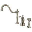 Kingston Brass KS7808TPLBS Single Handle Widespread Kitchen Faucet with Brass Sprayer, Satin Nickel