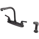 Kingston Brass NB750SP Water Onyx 8 inch centerset kitchen faucet with lever handles and matching side sprayer, Black Nickel