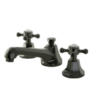 Kingston Brass NS4460BX Water Onyx widespread lavatory faucet with cross handles and brass pop up drain, Black Nickel