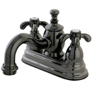 Kingston Brass NS7100TX Water Onyx 4 inch centerset lavatory faucet with cross handles and brass pop up drain, Black Nickel