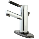 Kingston Brass NS8423DL Water Onyx single lever lavatory faucet with brass pop up, chrome finish with black nickel trim