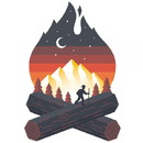 Sticker Art CAMPFIRE Sticker Art Campfire Sticker
