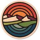Wood Stickers AT-CH12-R Woodsticker Mountains Sunset Sticker