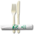 Hoffmaster 119976 Earth Wise -Pre-rolled recycled White tissue dinner napkin and compostable fork and knife, recycled napkin band