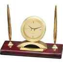 Desk Accessories Awards, Elegant Rosewood Piano Finish Pen Stand And Clock, Holds Two Pens