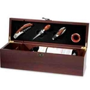 Custom Mahogany Finish Wood Wine Box With Silver Latch Includes Collar