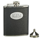 Custom Black Flask w/ Engraving Plate, SS 6 Oz
