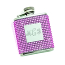 Custom Flask w/ Pink Crystals & Eng. Plate