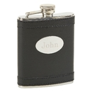 Custom Black Flask w/ Oval Eng. Plate, SS 6 Oz