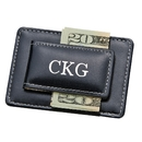 Custom Black Leather Card Holder / Money Clip, 3.75