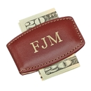 Custom Brown Leather Money Clip, 2.75