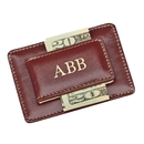 Custom Brown Leather Card Holder / Money Clip, 3.75