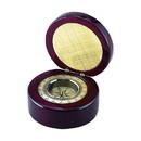 Custom Creative Gifts Round Wood Box Compass in Piano Finish