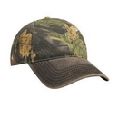 Custom Camouflage Garment Washed Cotton Blend Twill w/ Heavy Washed PU Coated Back Six Panel Low Profile Baseball Cap