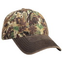 Blank OTTO Camouflage Garment Washed Cotton Blend Twill W/ Heavy Washed Pu Coated Back Six Panel Low Profile Baseball Cap