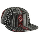 Blank OTTO Aztec Pattern Polyester Binding Trim Square Flat Visor Five Panel Camper Hat