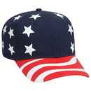 Custom OTTO 56-175 United States Flag Pattern Cotton Twill Pro Style Cap