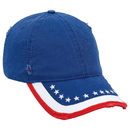 United States Flag Pattern Garment Washed Distressed Superior Cotton Twill Six Panel Low Profile Baseball Cap