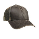 Custom Garment Washed PU Coated Cotton Blend Canvas w/ Camouflage Cotton Blend Twill Back Six Panel Low Profile Baseball Cap