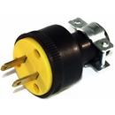 Fitall 1723-BOX, Plug, Male 2 Wire W/Cord Clamp Rubber Black