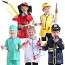 TopTie 5 Sets Role Play Costume For Kids Doctor Surgeon Policeman Fire Chief Engineer w/ Accessories