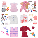 TopTie 6 Sets Role Play Costume Sets for Girls Pretend Play Dress up Costumes