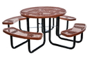 Vestil PT-MX-RT-46-BN picnic table exp metal round top 46 brown
