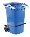 Vestil TH-64-BLU-FL blue poly trash can 64 gal w/ lid lift