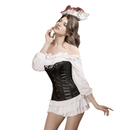 MUKA Seductive Black Faux Leather Lace Up Front Fashion Corset, Gift Idea