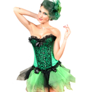 MUKA Green Fashion Corset With Bow Design & Lace Trim, Gift Idea