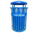 Ex-Cell Kaiser RC-SCD2633 RBL Streetscape Classic Outdoor Recycling Receptacle with Canopy