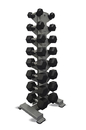 10-7142 8- Pair Vertical Db Rack With A 8 Pair (5-40Lb) Rubber Hex Dumbbell Set