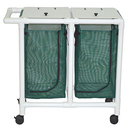 Double hamper with mesh bag - push/pull handle