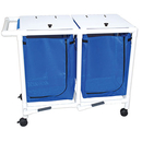 Double hamper with mesh bag - push/pull handle - footpedal