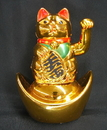 Feng Shui Import Lucky Cat on Ingot - 2589