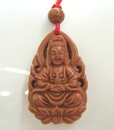 Feng Shui Import Red Goldstone Kuan Yin Necklaces - 269