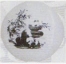 Feng Shui Import 2 of Chinese White Paper Lanterns with Pictures of Bamboo and Panda - 2867