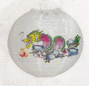 Feng Shui Import 2 of Chinese White Paper Lanterns with Dragon Pictures - 2870