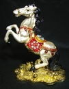 Feng Shui Import Metal White Horse Stepping on Bed of Coins - 2979