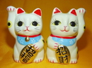 Feng Shui Import Pair of Lucky Cat Statues - 3041