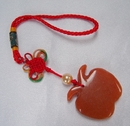 Feng Shui Import Orange Jade Apple Charm - 3061