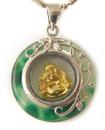 Feng Shui Import Jade Pendant with Golden Buddha Inside - 3154