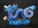 Feng Shui Import Bejeweled Imperial Blue Water Dragon - 3495