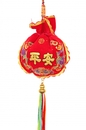 Feng Shui Import Pouch Shaped Safety Charm with 5-Color Tassels and Strings - 3554