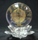 Feng Shui Import Thousand Armed Kuan Yin Crystal Sphere With Lotus Stand - 3880