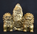 Feng Shui Import Brass Fu Dogs Sitting Beside Mountain - 4142