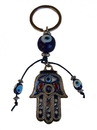 Feng Shui Import Hamsa Hand with Blue Evil Eyes Protection Keychain - 4309