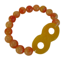 Feng Shui Import Color Jade Beaded Bracelet with Infinity Symbol - 4311