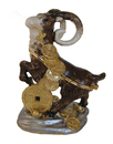 Feng Shui Import Bejeweled Sheep Statue Stepping on Chinese Coin - 4376