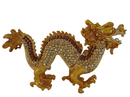 Feng Shui Import Bejeweled Golden Dragon Statue - 4396